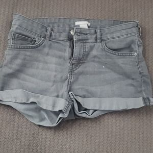 Cuffed Grey Jean Shorts